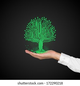 Microchip green tree and a hand