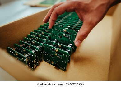 Microchip production factory hitech industry background