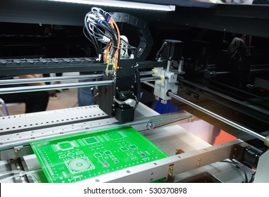 Microchip production factory. Technological process. Assembling the board. Chip. Manufacturing. Engineering.