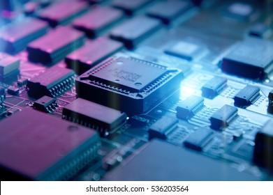 Microchips on a circuit board.