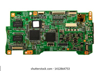 Microcircuit on an isolated white background.