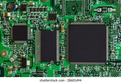 Microcircuit technology: chips on green board