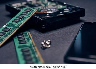 Microcircuits, computer components, electrician, repair, tools.