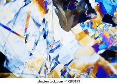 microcrystals of natriumcyclamat in polarized light