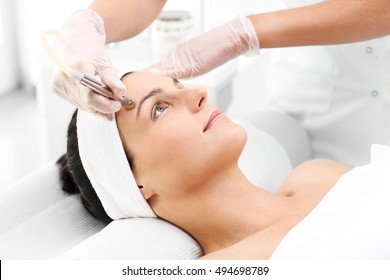 Microdermabrasion. woman during a microdermabrasion treatment in beauty salon