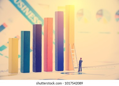 Microeconomics or factor of business decision making or starting a business concept : Miniature figurine businessman in formal business attire, stands toward a white ladder and wood bar graphs.