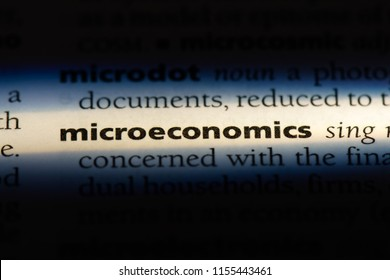 microeconomics word in a dictionary. microeconomics concept.
