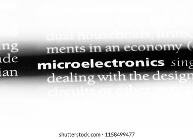 microelectronics word in a dictionary. microelectronics concept.