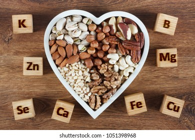 Microelements in different types of nuts. Healthy food concept