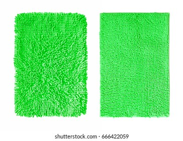 Microfiber fabric green color  texture isolated on white background
