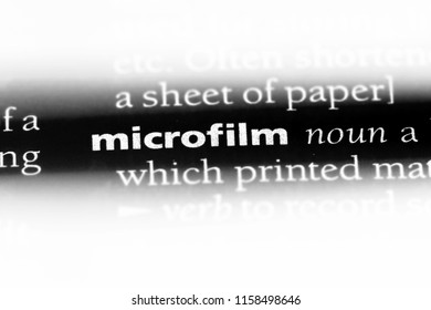 microfilm word in a dictionary. microfilm concept.