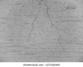 Micrograph  of stress corrosion crack in austenitic stainles steel type 304. The were branchy with multiple tips and propagated in transgranular mode.