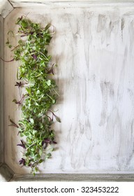 Microgreens on White Wood Tray