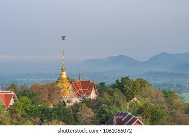 A microlight aircraft fly by Wat Phrathat Doi Saket.