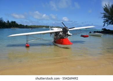 A microlight sea plane in Mauritius.