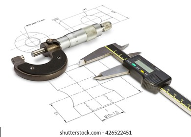 Micrometer and digital vernier calipers, isolated on drawing background with clipping path