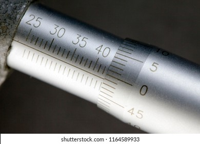 Micrometer, measuring scale close-up