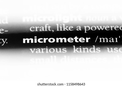 micrometer word in a dictionary. micrometer concept.