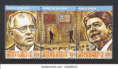 MICRONESIA - CIRCA 2000: three postage stamps printed in Micronesia showing images of Nobel Peace prize winner Mikhail Gorbachev and president Ronald Reagan, circa 2000.