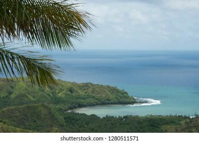 Micronesia, Mariana Islands, US Territory of Guam. Guam's Territorial Seashore Park, Cetti Bay overlook between the villages of Agat and Umatac.
