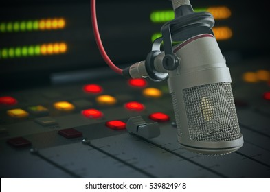 microphone and audio console in a radio studio
