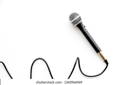 microphone for blogger, journalist or musician work on white background top view mock up