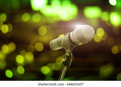 microphone blur colorful light in pub and restaurant background