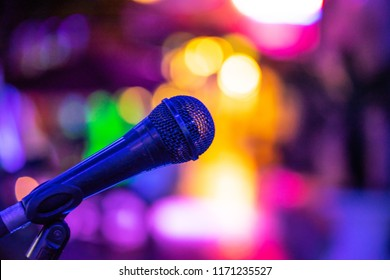 Microphone and Bokeh with purple tones.