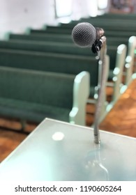 Microphone with church pies background