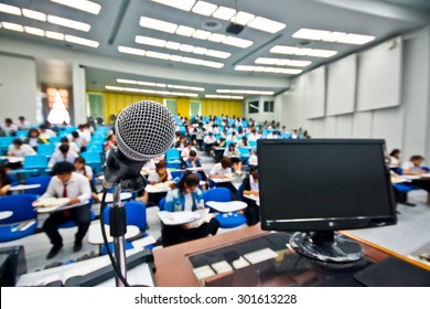 microphone and computer in a classroom