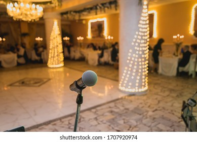 Microphone in concert hall or conference room before starting the event