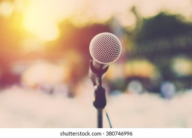 Microphone for concert outdoor event. Vintage filter