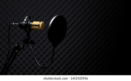 Microphone Condenser, gold mic with filter hang over sound absorbing wall room in dark audio studio, low exposure shadow silhouette studio lighting background copy space