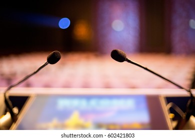 Microphone conference event stage for speaker in hall