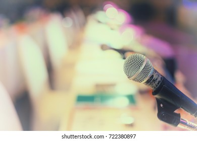 Microphone in the  conference hall or seminar room background. meeting room, seminar, event, business,  hall,  presentation, exhibition