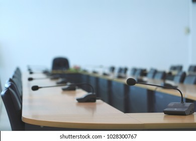 Microphone in the conference room selective focus and shallow depth of field