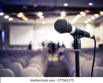 Microphone in Conference Seminar room Meeting Event Background