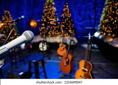 Microphone and guitars on stage during Christmas Holiday show