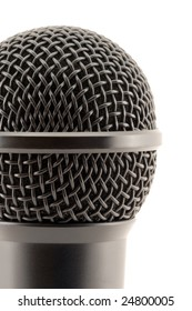 Microphone head. Fragment. Close-up.