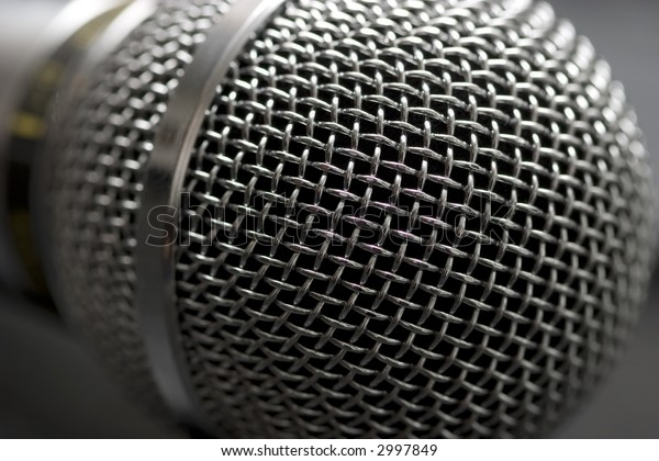 Microphone head (grille) close-up shot