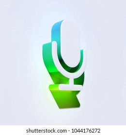 Microphone Icon on the Aqua Wall. 3D Illustration of White Mic, Microphone, Old Microphone, Radio Mic Icons With Aqua and Green Shadows.