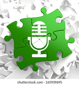 Microphone Icon on Green Puzzle. Sound Concept.