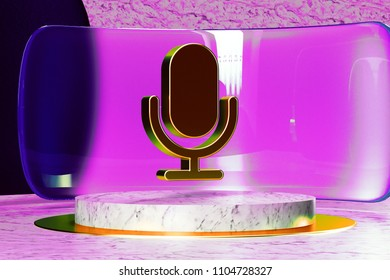 Microphone Icon on White Marble and Magenta Glass. 3D Illustration of Stylish Golden Mic, Microphone, Old Microphone, Radio Mic Icon Set in the Magenta Installation.