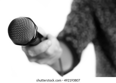 Microphone isolated man hand