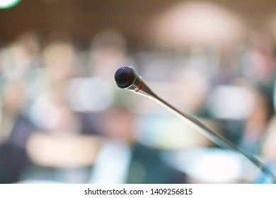 Microphone in meeting room for a conference