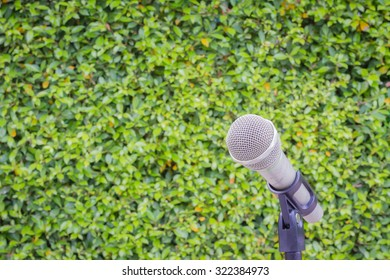 microphone on the background of blurred green leaves or bush. soft focus .shallow depth of field