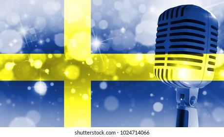 Microphone on a background of a blurry flag Sweden close-up