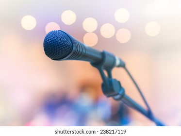Microphone on a bokeh background