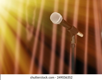 Microphone on brown curtain background, Karaoke concept