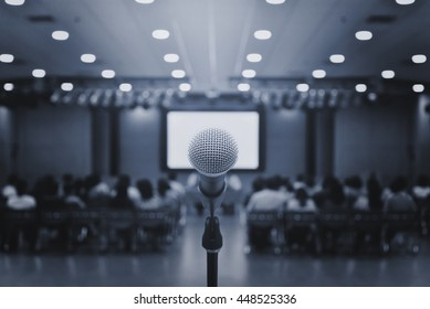 microphone on Conference room,meeting and event,speech concept,business concept
